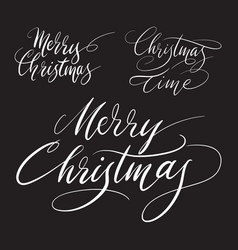 merry christmas handwriting calligraphy vector image vector image