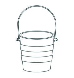 Monochrome contour of metallic bucket container vector