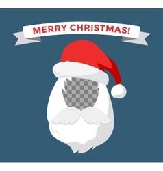 Portrait Santa Claus face cut mask silhouette vector image