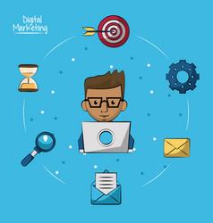 poster of digital marketing with man working in vector image vector image