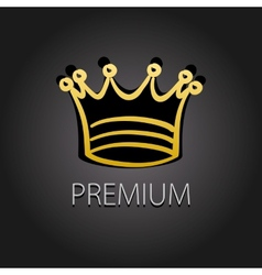Premium quality golden label with crown vector