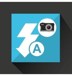 Retro camera photographic flash icon vector