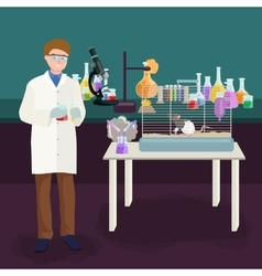 Scientists lab concept with man making research vector