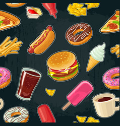 Seamless pattern fast food cup cola coffee vector