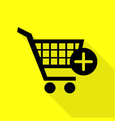 Shopping cart with add mark sign black icon with vector