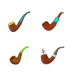 Smoking pipe icon set cartoon style vector