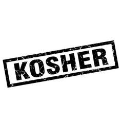 Square grunge black kosher stamp vector
