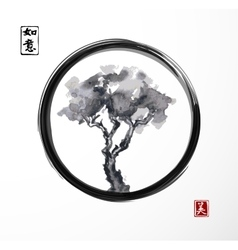 Tree in black enso zen circle vector