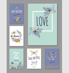 Wedding invitation card suite with flower vector