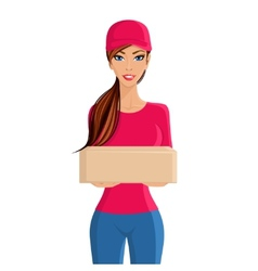 Woman delivery person portrait vector