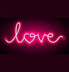 Word love neon sign valentines day greeting card vector