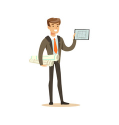 young smiling architect standing and holding vector image