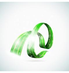 Abstract green shiny ribbons vector image