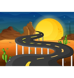 A fullmoon at the end of the winding road vector