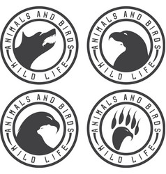 Vintage labels with animals and birds negative vector