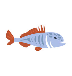 Red and blue jack fish part of mediterranean sea vector