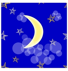 Stars and crescent seamless vector