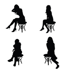 Girl pose silhouette sitting on chair in black vector