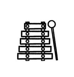 Figure marimba music instrument to melody harmony vector