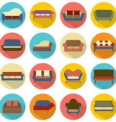 Flat design sofa icons vector