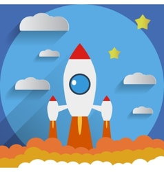 Flat design rocket start stars background vector