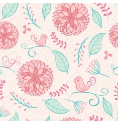 floral summer background with birds vector image