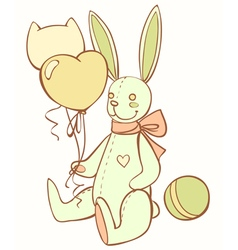 Toy teddy bunny with balloons and ball vector