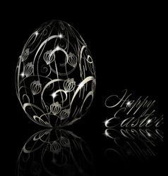 abstract silver easter egg vector image