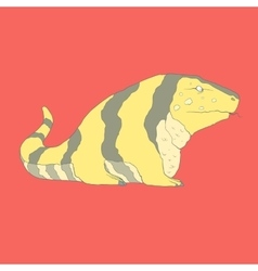 Flat hand drawn icon of a cute golden tegu vector
