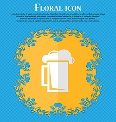 Glass of beer floral flat design on a blue vector