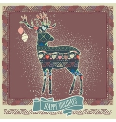 Hand-sketched retro christmas design vector