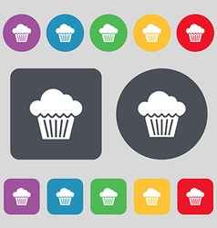 Cake icon sign a set of 12 colored buttons flat vector