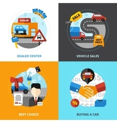 Car dealership 2x2 design concept vector