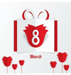 8 March Womens Day paper gift box with red roses vector image