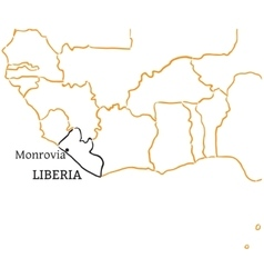 Liberia hand-drawn sketch map vector