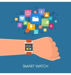 Hand with smart watch in flat vector