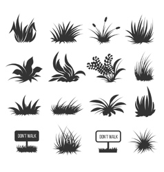 Grass and lawn silhouettes vector