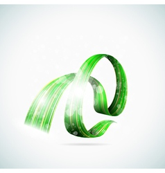 Abstract green shiny ribbons vector image vector image