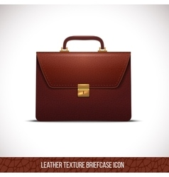 Brown color leather briefcase icon vector