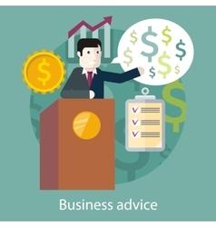 Business advice cartoon speaker on the podium vector