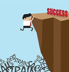 Businessman in climbing the cliff to success choic vector image