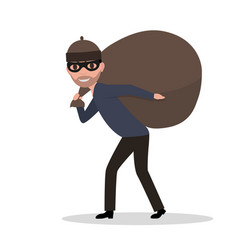 Cartoon male thief carrying bag with a loot vector