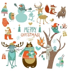 christmas set with wild animals vector image vector image