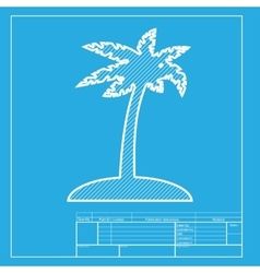 Coconut palm tree sign white section of icon on vector