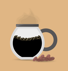 Coffee maker glass beans vector