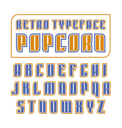 Decorative sanserif font in retro style vector