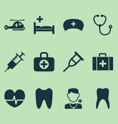 Drug icons set collection of device physician vector