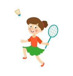 flat girl playing badminton shuttlecock vector image