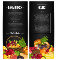 Fresh organic fruit flyers set vector