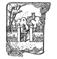 Garden entrance volterra vintage engraving vector